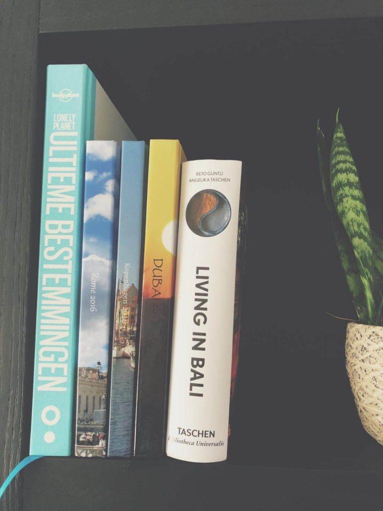 reisboeken in huis